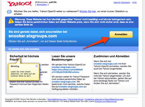 Anmelden-Button bei Yahoo!